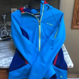 COLUMBIA OMNI-Heat titanium jacket blue small hood